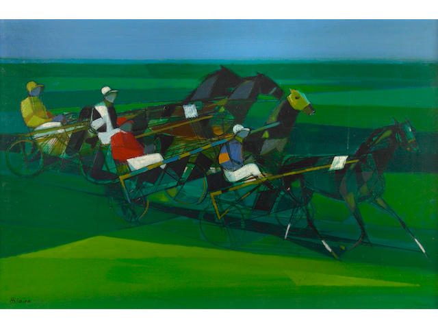 Camille Hilaire (French, 1916-2004) Le trot attelé 23 1/2 x 36in