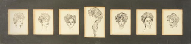 (n/a) Charles Dana Gibson (American, 1867-1944) Seven Gibson Girls (7) each approx. 5 x 4in all seven framed together