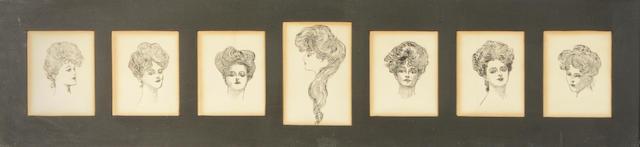 Charles Dana Gibson (American, 1867-1944) Portraits of Gibson Girls (7)