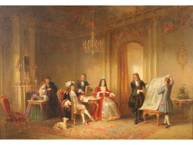 Henricus Engelbertus Reijntjens (Dutch, 1817-1900) King Louis XIV and the plans of Versailles 21 3/4 x 31 1/2in