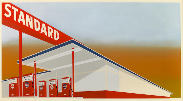 Edward Ruscha (American, born 1937); Standard Station (E.5) 1966 color screenprint final proof;