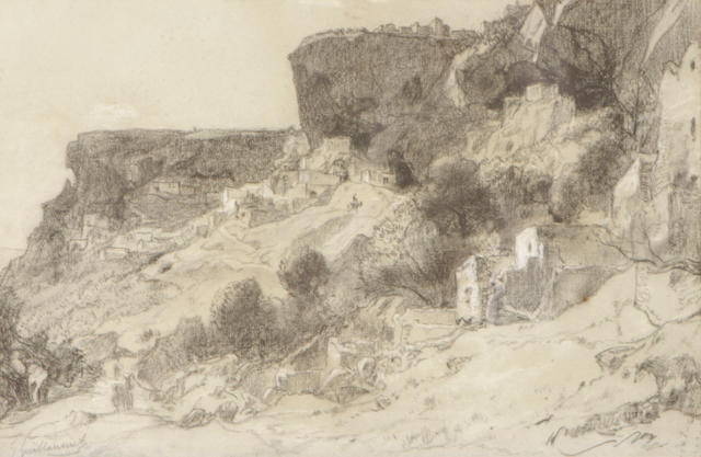 Gustave Achille Guillaumet (French, 1840-1887) Mediterranean cliff dwellings