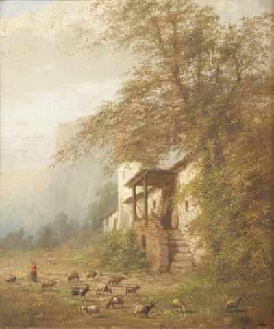 G. Lauters (19th century) A farm scene with goats in a yard 14 x 11 1/4in
