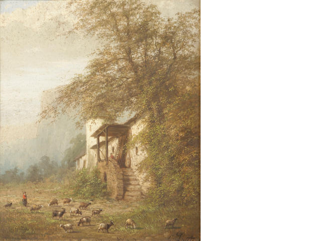 G. Lauters (19th century) A farm scene 14 x 11 1/4in