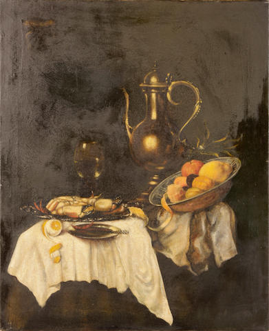 Willem  Kalf A still life with fruit and shellfish 24 x 30in unframed