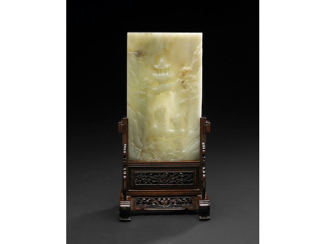 A fine pale greenish white jade plaque Qianlong Period