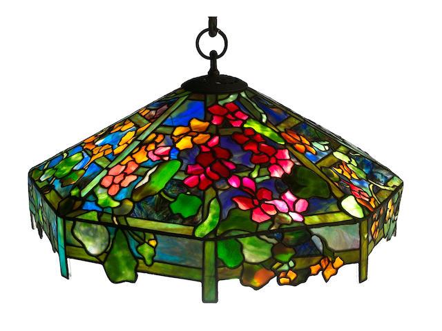 A Tiffany Studios Favrile glass and bronze Nasturium trellis chandelier 1899-1918