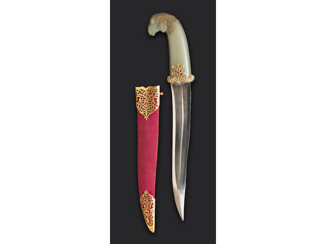 A jade-hilted and gem-set Mughal khanjar