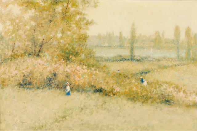 (n/a) André Gisson (American, 1921-2003) Strolling through the park 24 x 36in
