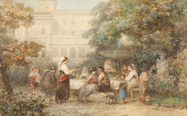 Karel Frans Philippeau (Dutch, 1825-1897) A festive banquet 9 x 13 3/4in unframed