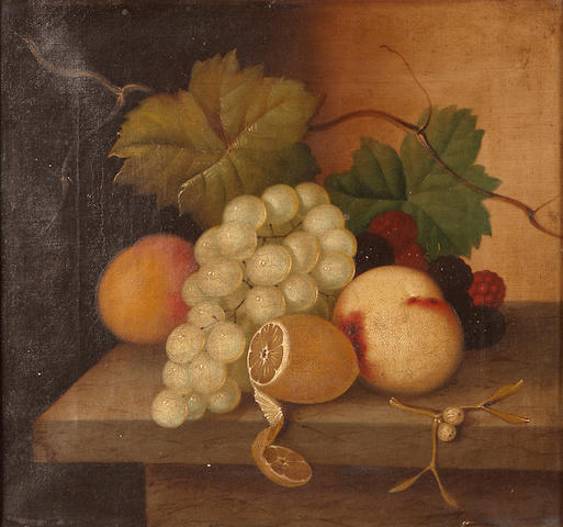 (n/a) American School (19th Century) Still Life with fruit on a table 12 x 13in