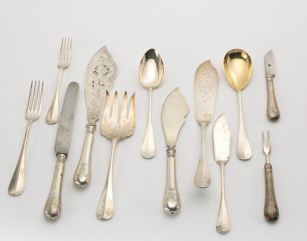 Austro-Hungarian Silver Assembled Partial Hanoverian Flatware Set
