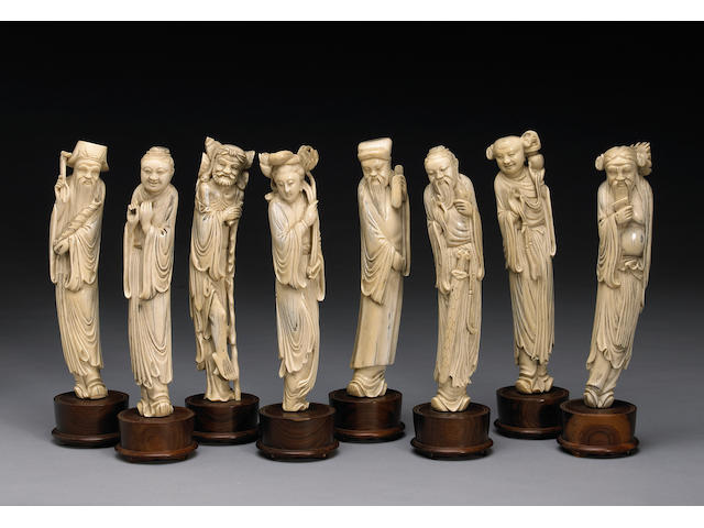 A group carved ivory figures of eight immortals