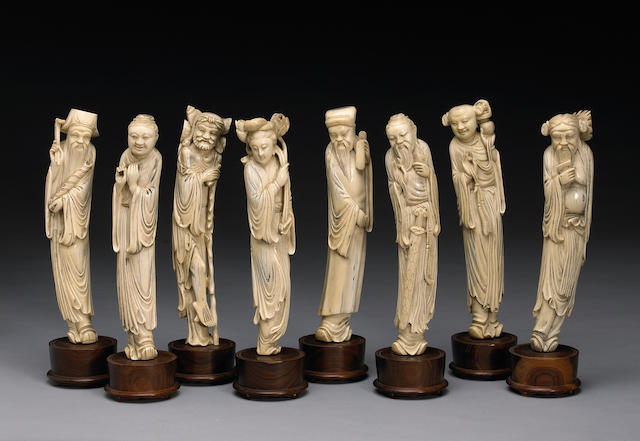 A carved ivory set of the Eight Daoist Immortals 20th Century