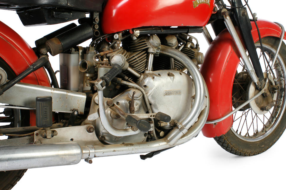 Two owners from new, documented by factory records as 1 of 12 built with original black frame with Chinese Red tinwork,1952 Vincent 998cc Series C Rapide Frame no. C10241C Engine no. F10AB/1/8341
