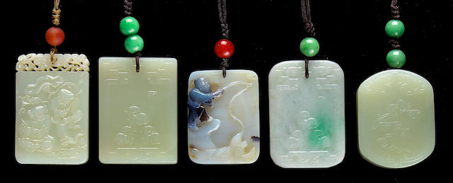 A group of five hardstone pendants 20th Century