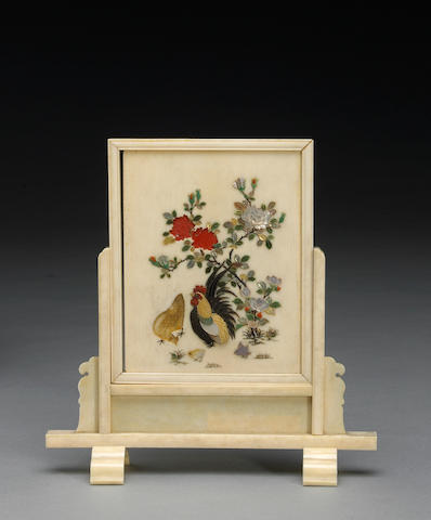 A small Shibayama ivory table screen with mother-of pearl inlay (missing pieces to the inlay)