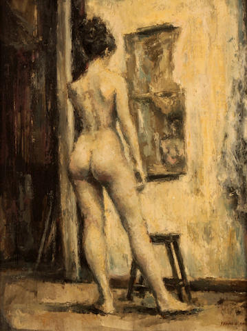 Francis Kelly (American/British, born 1927) Standing female nude 18 x 14in