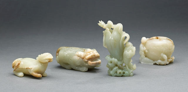 A group of four nephrite carvings