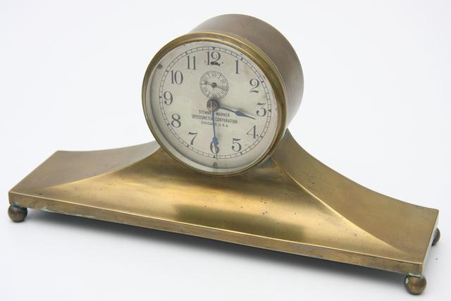 A fine brass Stewart Warner deskpiece,
