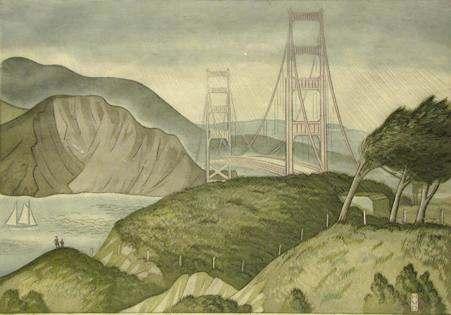 Harold Mallette Dean (American, 1907-1975); Golden Gate Bridge;