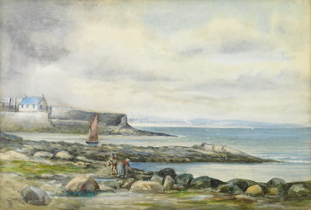 (n/a) Christopher Meadows (British , 1863-circa 1914) A rocky coastal scene with figures collecting mussels in the foreground sight 9 5/8 x 14 1/4in