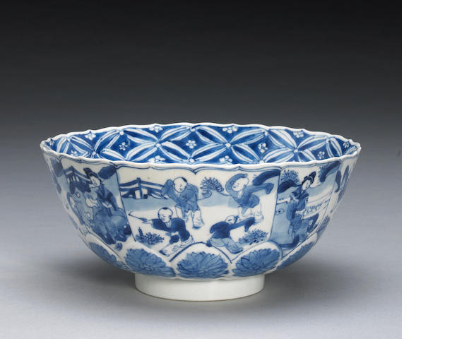 A Chinese blue and white bowl with floral and figural decoration, Chenghua mark, Kangxi period