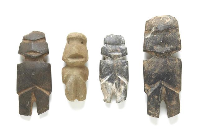 Four Mezcala stone figures