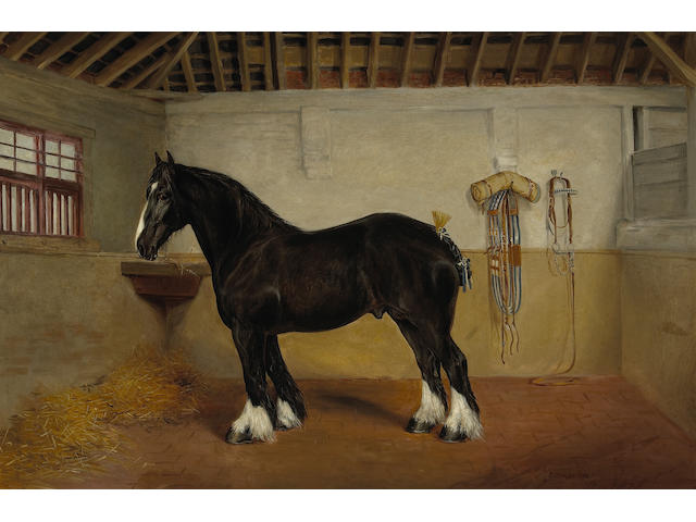 British painting of a horse, signed EF Holt, dated 1892