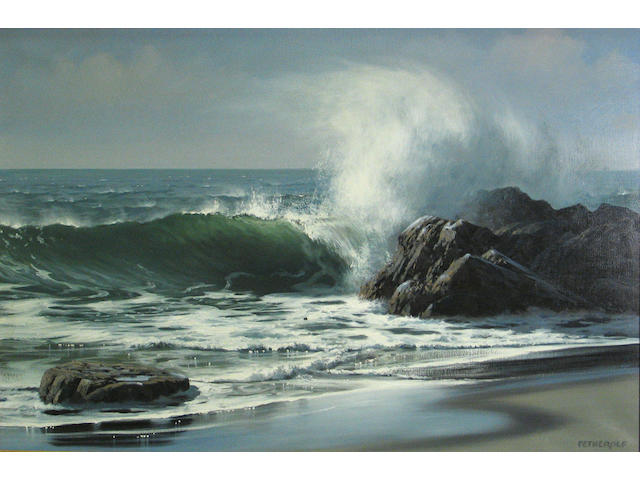 (n/a) James A. Fetherolf (American, 1925-1994) Waves crashing against a rocky shore 24 x 36in