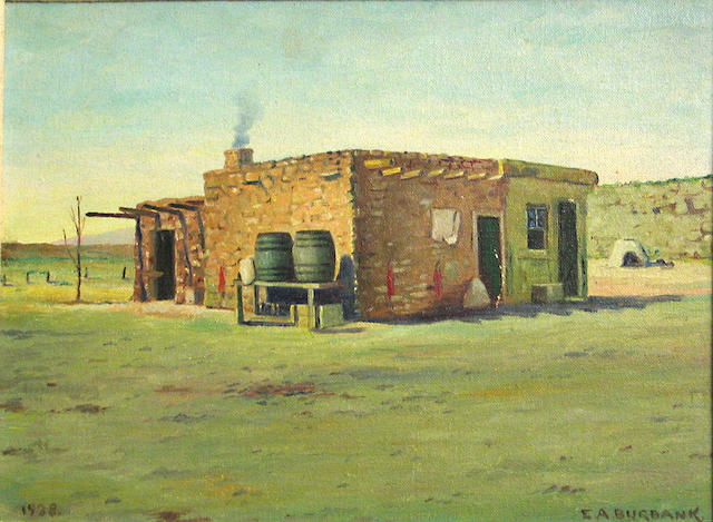 Elbridge Ayer Burbank (American, 1858-1949) Adobe home, 1938 9 x 12in