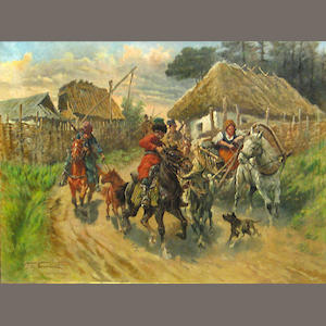 Fritz Neumann (German, born 1881) Cossacks in a village 23 3/4 x 31 3/4in