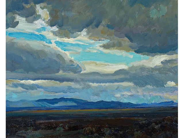 Maynard Dixon (1875-1946) Approaching storm, Coast Range, California, 1921 16 x 19 3/4in