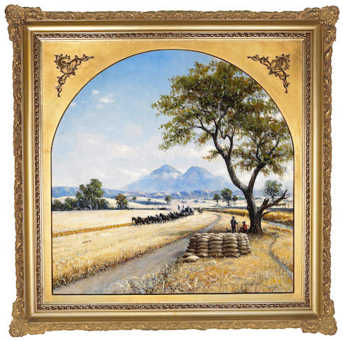 William Coulter, Wheat harvest, signed: l/r, American, 1916, o/c, 40 x 40in