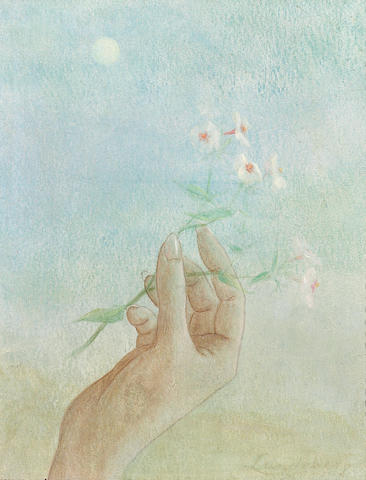 Helen Lundeberg (American, 1908-1999) Hand with flowers 10 x 8in