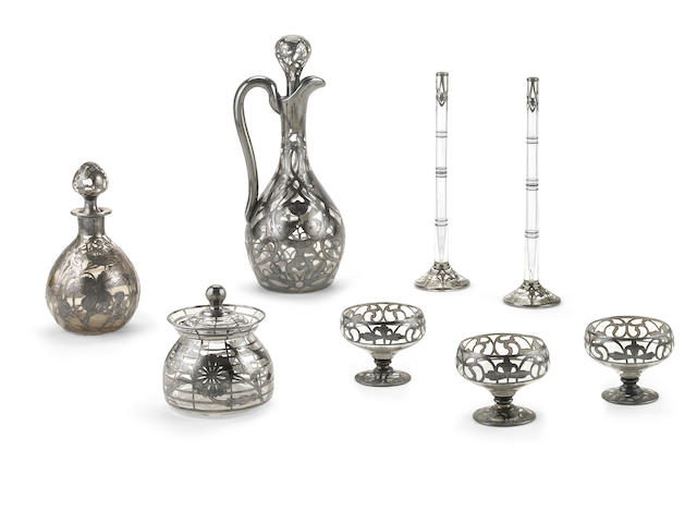 A group of silver overlaid clear glass items