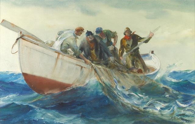 (n/a) James Milton Sessions (American, 1882-1962) Fishermen pulling in nets 15 x 24in