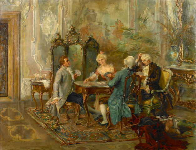 (n/a) Luigi Gasparini (Italian, born 1865) An interior with card players 27 3/4 x 38in