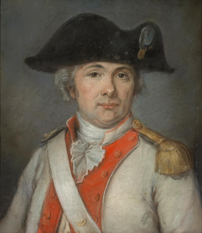 (n/a) French School, late 18th Century A portrait of Louis-Jacques-Anne-Désiré Le Roux de Kerninon, wearing the uniform of the régiment de Soissonnais sight 20 x 17 1/2in (50.8 x 44.4cm)