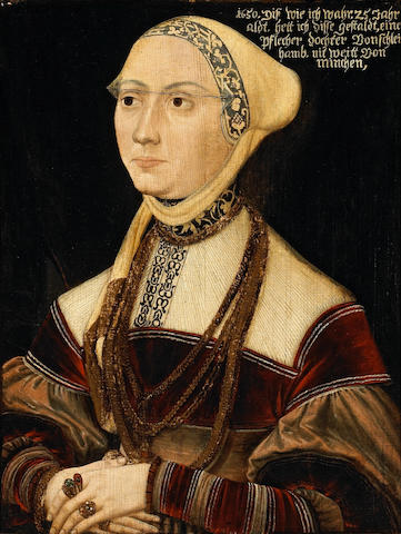 Circle of Peter Gertner (German, 1495-died after 1541) A portrait of a lady, seated half-length wearing a brown velvet dress 16 3/4 x 12 1/2in (42.5 x 31.8cm)
