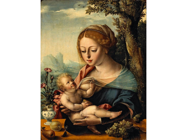 Attributed to Master of the Parrot (Flemish, active 1525-1550) The Madonna nursing the Christ Child 20 x 15in (50.9 x 38.1cm)