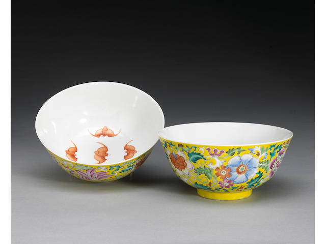A pair of famille jaune decorated bowls, Guangxu Mark and period (small restorations to rim)
