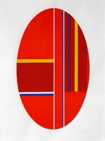 Ilya Bolotowsky (Russian/American, 1907-1981); Untitled (Red oval); Untitled (Blue  rectangle); (2)