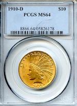1910-D $10 MS64 PCGS