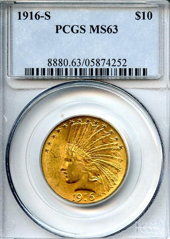 1916-S $10 MS63 PCGS