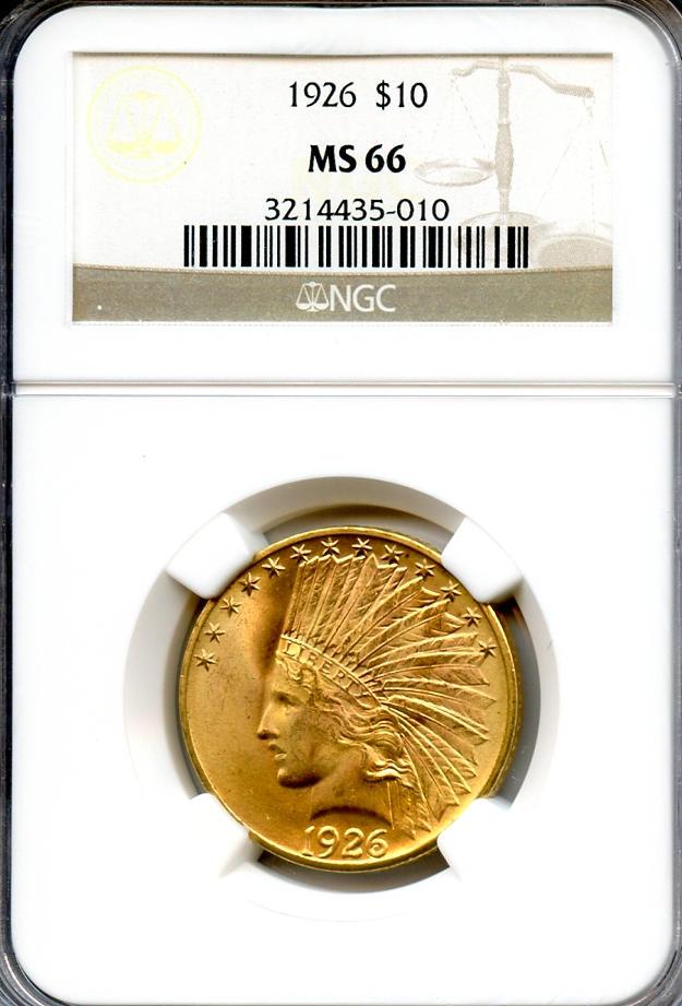 1926 $10 MS66 NGC
