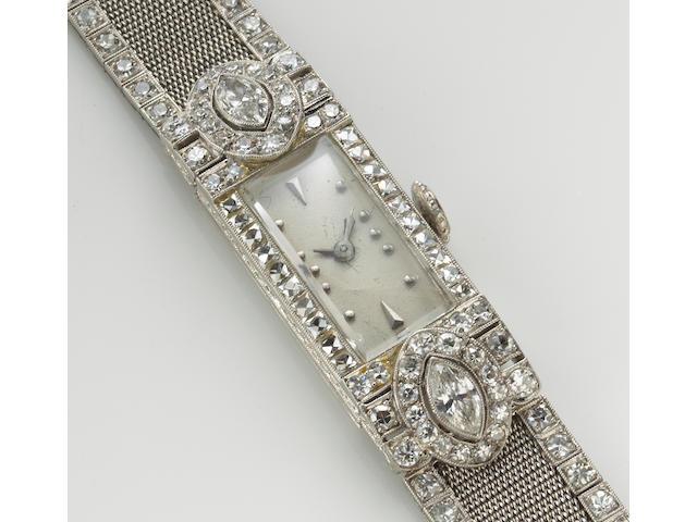 An art deco diamond and platinum wristwatch, Vacheron & Constantin, circa 1925
