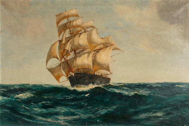 English School, 20th Century A ship at sea 24 x 36in