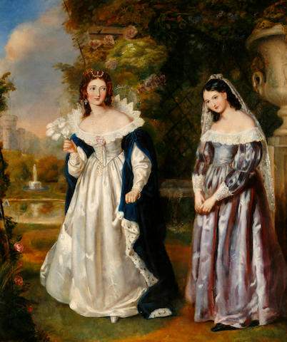 Continental School Two elegant ladies in a garden