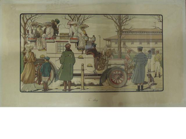 A pair of prints after C Firone 'In Olden Times' and 'Today', circa 1910,